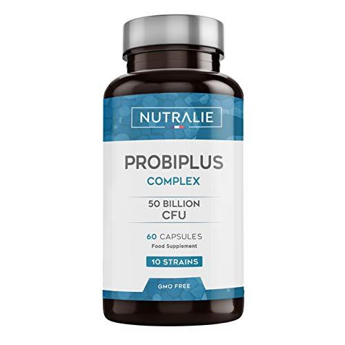 Probiótico Probiplus 50 mil millones de UFC garantizados por dosis | 10 cepas efectivas y naturales | 60 cápsulas vegetales | Mejora las defensas y la flora intestinal | Probiplus complex | Nutralie