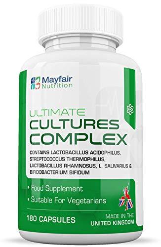 Cultures Complex   180 Comprimidos   Lactobacilos y acidófilos   Vegetariano   No GMO. Sin gluten   6 meses   Hecho en el Reino Unido por Mayfair Nutrition