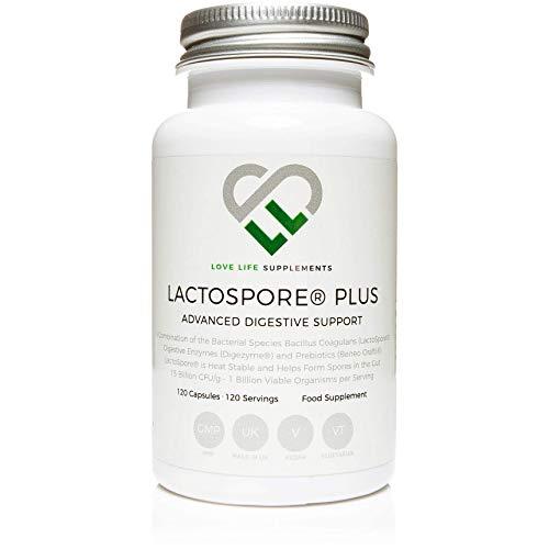 LactoSpore (Bacillus Coagulans) Plus de LLS | Probióticos | 15 mil millones de UFC por gramo | 120 Cápsulas - Suministro para 4 meses | Incluye Enzimas Digestivas e Inulina Prebiótica