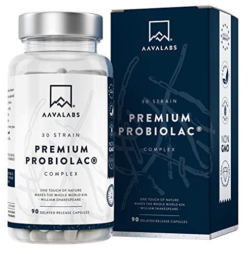 Premium Probiótico [ 120 Mil Millones de UFC ] 30x Cepas Bacterianas incl. Lactobacillus Acidophilus & Bifidobacterium por Dosis - 90 Cápsulas de Liberación Retardada (DRcaps).
