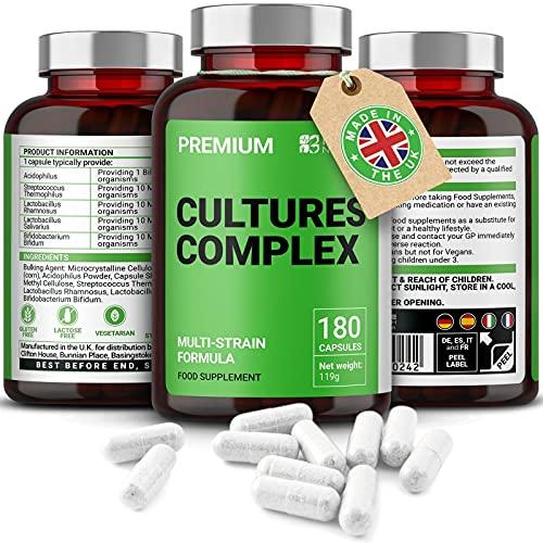 Probióticos Cultures Complex   180 Comprimidos   Lactobacilos y acidófilos   Vegetariano   No GMO. Sin gluten   6 meses   Hecho en el Reino Unido por Mayfair Nutrition